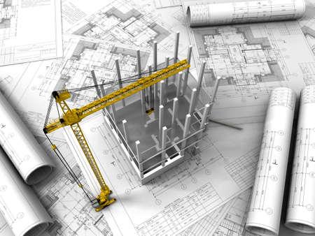 3D plan drawing   Stock Photo