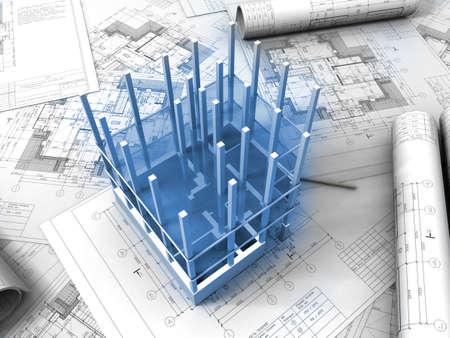 Piano di disegno 3D  Archivio Fotografico