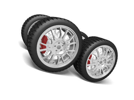 Four sports wheels isolated on the white Stock Photo - 7345477