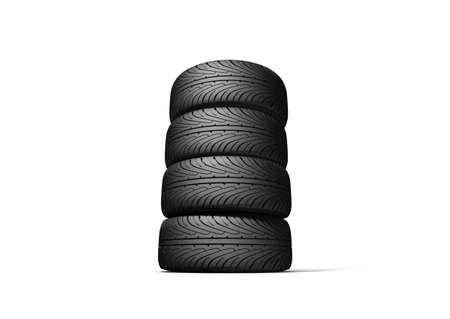 Wheels isolated on white. 3d illustration. Stock Illustration - 10556761