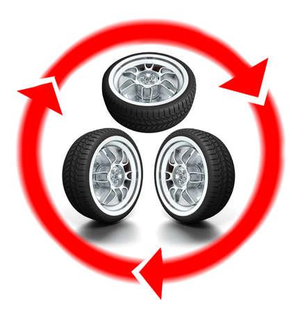 pneumatic: Isolated wheels on white background