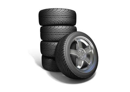 Wheels isolated on white. 3d illustration.  Stock Illustration - 10556830