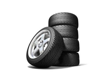 Wheels isolated on white. 3d illustration.  Stock Illustration - 10556794