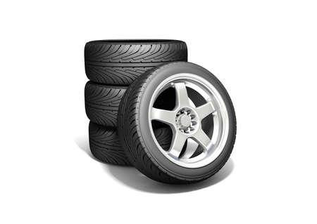 Wheels isolated on white. 3d illustration.  Stock Illustration - 10556798
