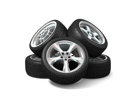 Wheels isolated on white. 3d illustration.  Stock Illustration - 11047200