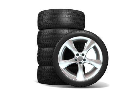 Wheels isolato su bianco. Illustrazione 3D. Archivio Fotografico