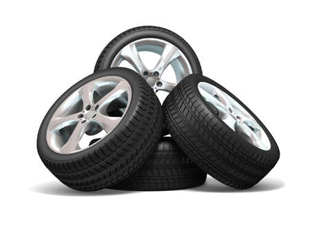 Wheels isolated on white. 3d illustration.  Stock Illustration - 11047206