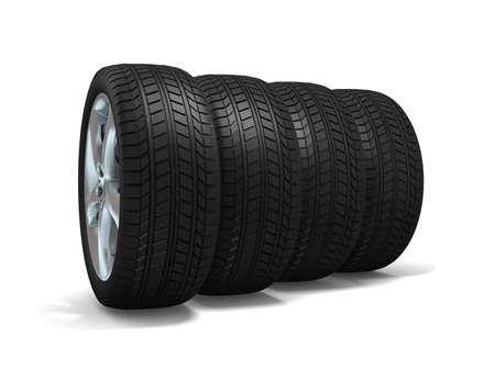 Wheels isolated on white. 3d illustration. Stock Illustration - 11047178