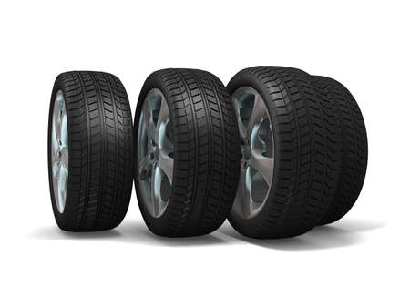 Wheels isolated on white. 3d illustration.  illustration