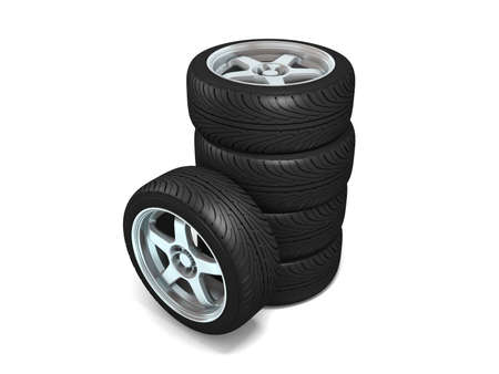 Wheels isolated on white. 3d illustration.  Stock Illustration - 11047159