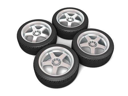 Wheels isolated on white. 3d illustration. Stock Illustration - 11047212