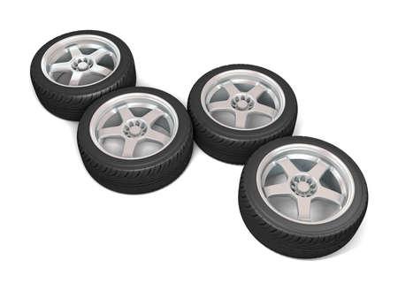Wheels isolated on white. 3d illustration. Stock Illustration - 11047182