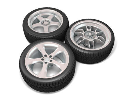 Wheels isolated on white. 3d illustration.  Stock Illustration - 11047205