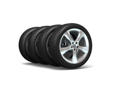 Wheels isolated on white. 3d illustration.  Stock Illustration - 11047228