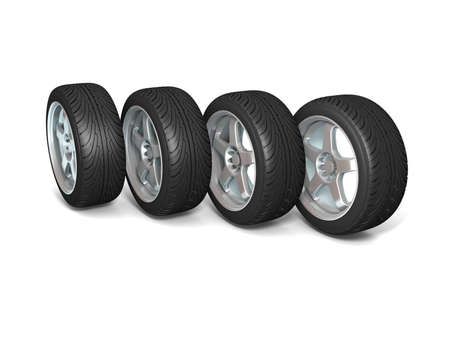 Wheels isolated on white. 3d illustration. Stock Illustration - 11047177