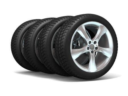 Wheels isolated on white. 3d illustration.