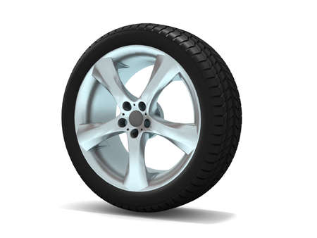 Wheels isolated on white. 3d illustration.  Stock Illustration - 11047158