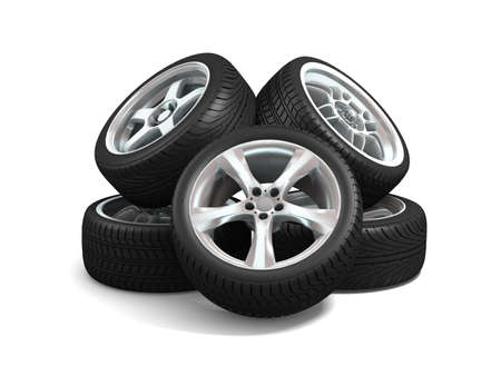 Wheels isolated on white. 3d illustration.  Stock Illustration - 11047197
