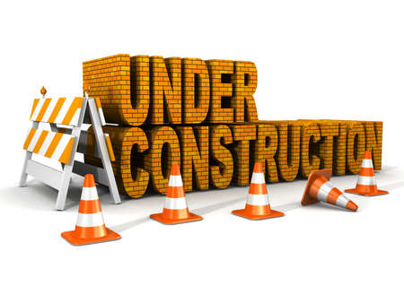 construct: under construction! with traffic cones  Stock Photo