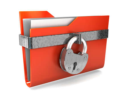 Data security. 3d illustration of folders closed isolated on white.  Stock Illustration - 11047198