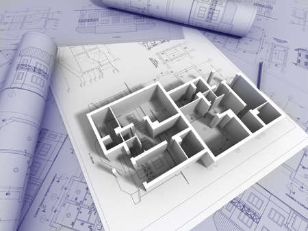 arquitecto: Dibujo de plano en 3D
