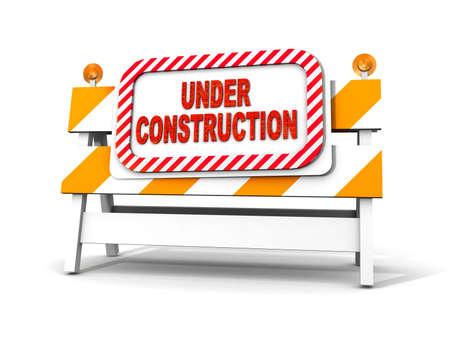 interim: under construction! with traffic cones  Stock Photo