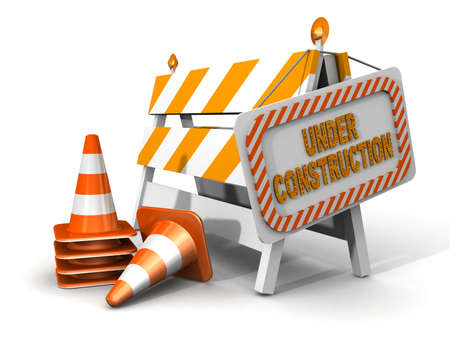 under construction! with traffic cones  Stock Photo