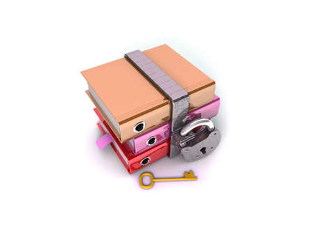 3D illustration of the image of a folder with the lock on a white background Stock Illustration - 11047644