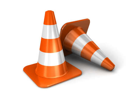 construction vehicle: traffic cones 3d illustration