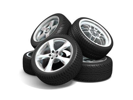 Car wheels on white background. Stock Photo