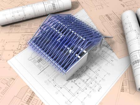 3D plan drawing Stock Photo - 11078088
