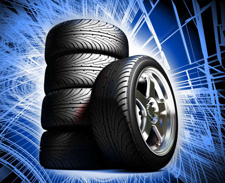 treads: Wheels for the sports car   Stock Photo