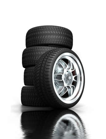 Isolated wheels on white background  photo