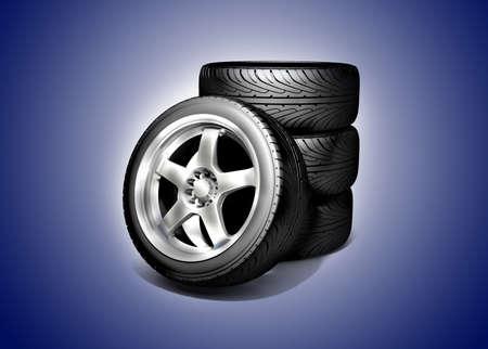 Wheels isolated on white. 3d illustration.  illustration