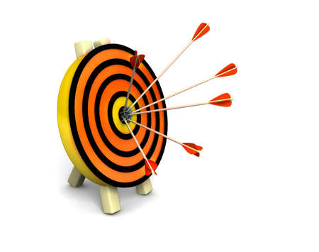 archery target: 3d target and arrows, isolated on white