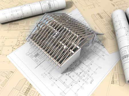 fachadas de casa: Dibujo de plano 3D