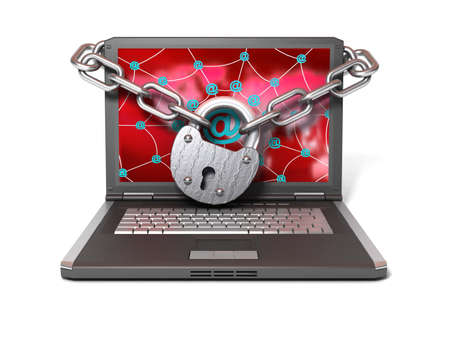 Laptop with lock and chain Stock Photo - 11140641