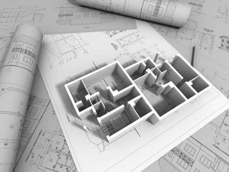 Elegant 3D Plan Drawing Stock Photo   11140751