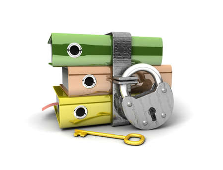 3D illustration of the image of a folder with the lock on a white background Stock Illustration - 11140622