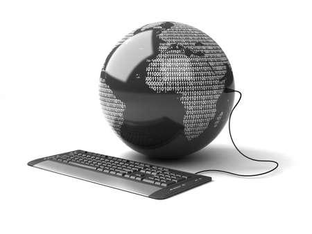 Globo terrestre collegato con tastiera del computer.