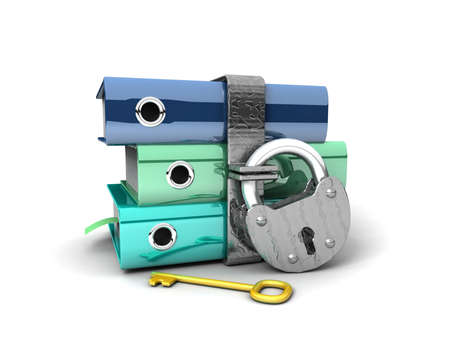 3D illustration of the image of a folder with the lock on a white background Stock Illustration - 11141091