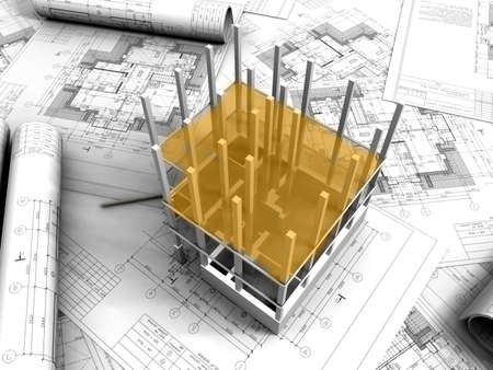 architectural exterior:  3D plan drawing   Stock Photo