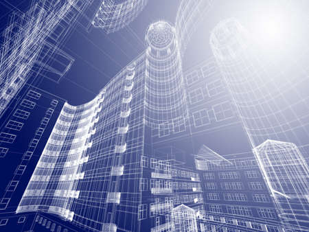 cad drawing: Abstract architecture  Stock Photo
