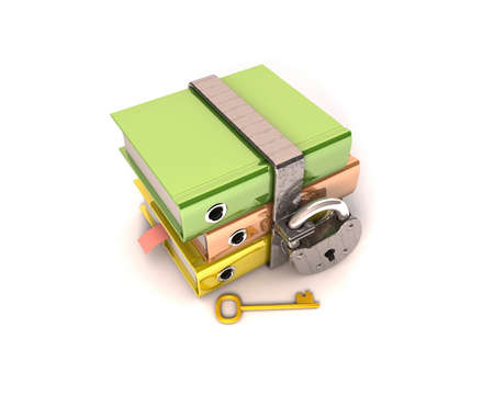 3D illustration of the image of a folder with the lock on a white background  Stock Illustration - 11325722