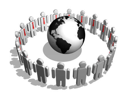 Group of people standing round globe photo