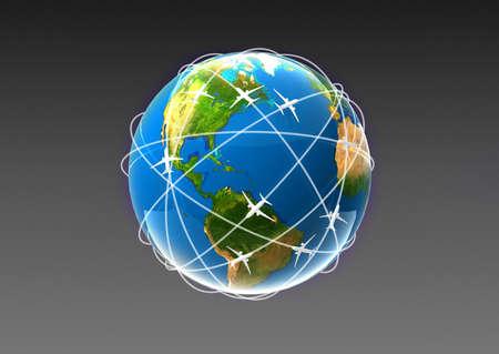 globe with plane photo