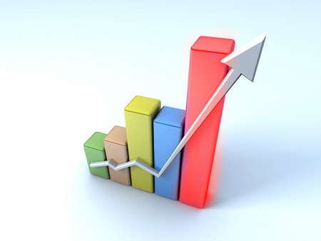 sales growth: Business graph Stock Photo