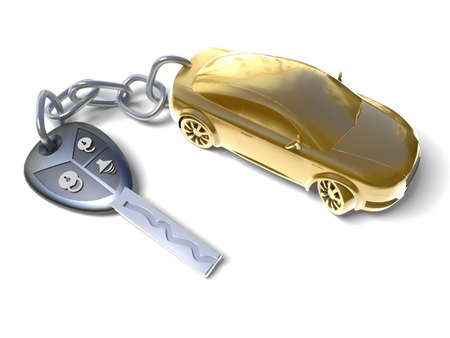 gold key: Gold car Stock Photo
