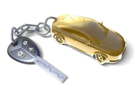 car key: Gold car Stock Photo