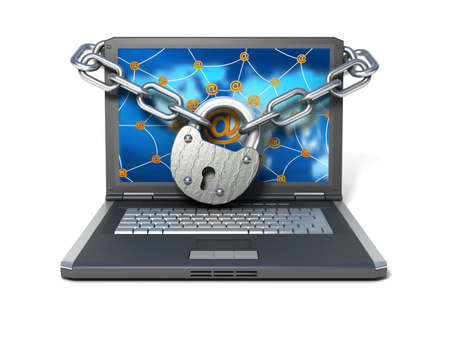 Laptop with lock and chain  Stock Photo - 11325762